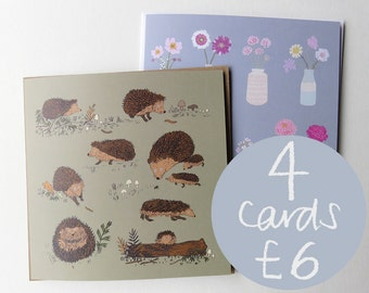 Any 4 illustrated greetings cards
