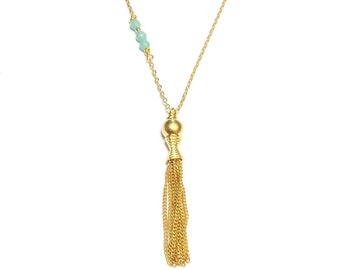 Gold Vermeil and Amazonite necklace