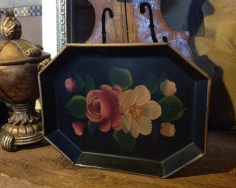 Vintage Tole Hand Painted Tray