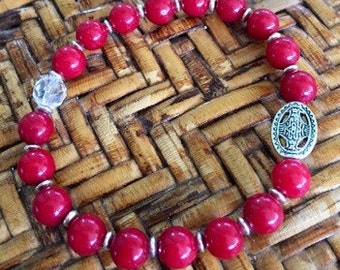 Red Mountain Jade and Crystal Quartz Silver Medallion Bracelet, Healing Stones
