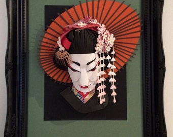 Geisha portrait paper sculpture