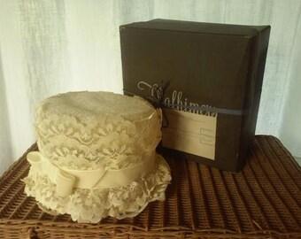 1950's Vintage Lacey Wedding Hat ~  Thalhimers Department Store Hat Box ~ Richmond, Virginia