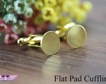 Flat Cufflink Blank - Glue Cufflink Blank - 12mm Silver, Gold, Ant Bronze Flat Pad Cufflink findings - Flat Cufflink Setting C019