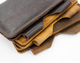 Two Pocket Field Notes Cover, Leather Journal Cover, Card Holder, Field Notes Notebook, From Assorted Oil Tanned #144-41102