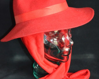 Vintage Red Lancaster Women's Felt Hat with Scarf