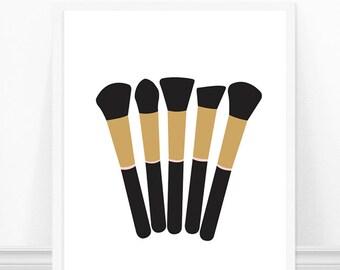 Makeup Brushes Print - Makeup Brush Art Print - Fashion Print - Wall Art