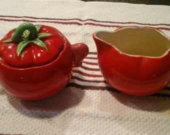 Vintage Pantry Parade Red Tomato Cream and Sugar....Red red
