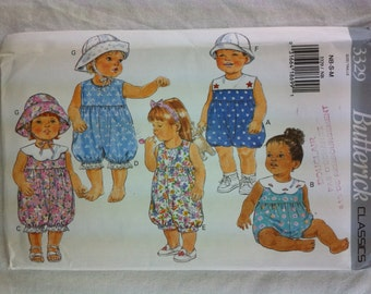 1990 Butterick sewing pattern 3329 infants romper and hat