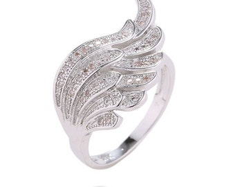 18K White Gold Filled Angel Wing