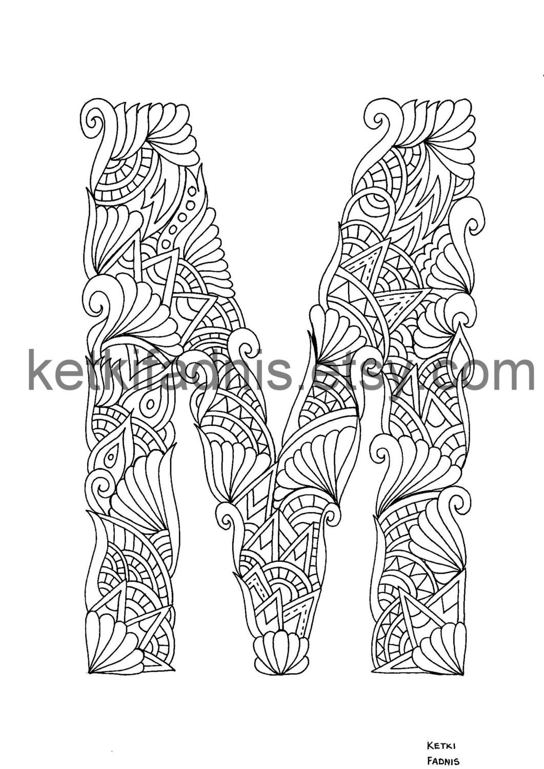Coloring pages for letter m - This Is A Digital File