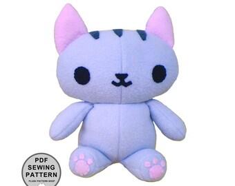 Plush Pattern - Kitty Cat PDF Sewing Stuffed Animal Pattern