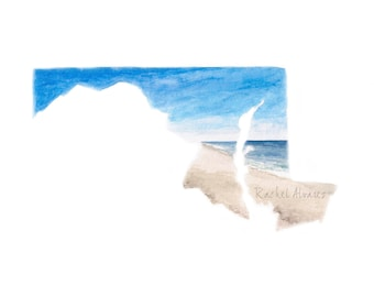 Maryland Art PRINT, Ocean City Maryland, Maryland Watercolor, Maryland Gift, Maryland State PRINT, Maryland Map, Maryland Landscape