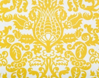 Yellow and white damask curtains