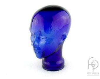 Life Size Cobalt Blue Glass Mannequin Head