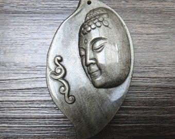 Natural Gold Obsidian Buddha amulet pendants