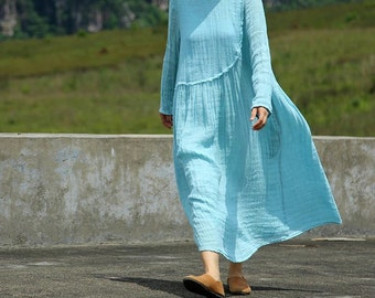 blue irregular loose linen dress   BonLife