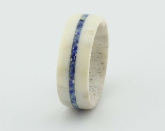 Deer Antler Ring/Antler Ring/Deer Antler Ring with Lapis Lazuli Inlay