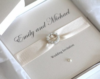 Stunning pearlescent Invitation, with pearl detail and diamante buckle