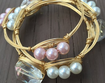 Set of Three Stackable Wire Wrapped Bangles, White Pearl Wire Bangle, Light Pink Wire Bangle, Clear Crystal Wire Bangle, Stackable Bangles