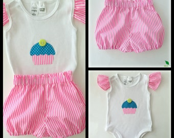 Handmade - Baby Girls Applique top and Bloomer shorts set Sizes 000, 00, 0