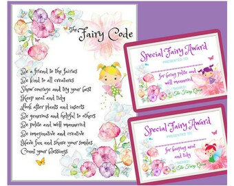 Fairy Code, Fairy Printables with Fairy Certificates to award for kind fairy behaviour