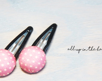 Pink Barrettes - Pink Hair Clips - Polka Dot Barrettes - Pink Polka Dot Hair Clips