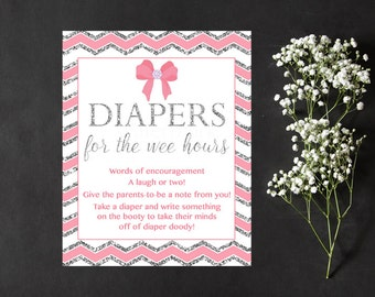 Pink and Silver Diaper Thoughts Sign Printable, Late Night Diapers Diapers for the wee hours Pink Bow Sign Printable, JPEG PDF Printable