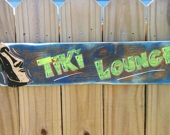 Tiki Lounge Sign with Tiki Head