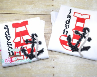 Anchor pirate nautical initial shirt boy girl kid child toddler baby infant appliqué embroidery custom monogram personalized name
