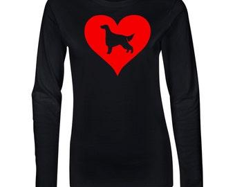 Irish Setter Love Heart Junior Long Sleeve T-Shirt. Juniors Long Sleeve T-Shirt. Dog Lover Shirt.  64400L
