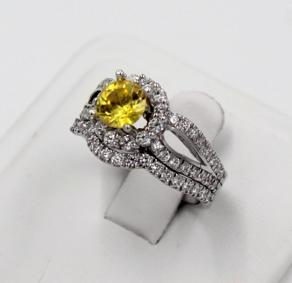 Halo Ring Ring And Band Set Citrine And CZ By PlatinumClassics