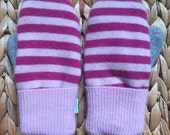 Pink, fuchsia striped, gray, seafoam green Mittens, upcycled wool mittens, sweater mittens.
