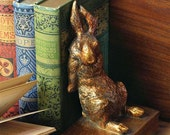 """Vintage Antique Reproduction Gilded Rabbit Bookends With Felt Lining - 8"""""""