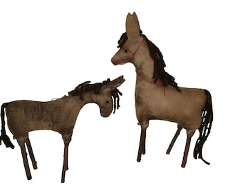 Antique Primitive  Horse Pair made of Fabric and Twig