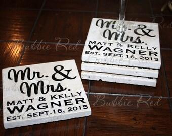Personalized Coasters, Custom Coasters, Monogram Wedding Gifts, Monogram Shower Gifts, Mr & Mrs, Engagement Gifts,Coasters,Established Gifts