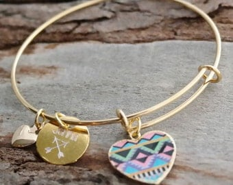 Gold Plated Tribal Heart Personalized Adjustable Wire Bangle Bracelet