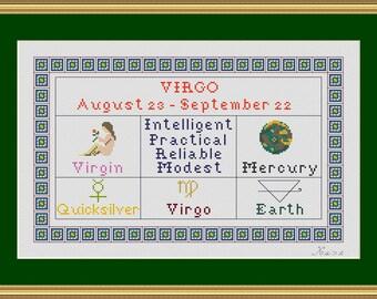 18 count CROSS STITCH KIT - Zodiac Series - 09 Virgo    (11.11 x 7.11 inches, 28.22 x 18.06 cms) in white box