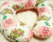 Girl Custom Travel Pillow, Toddler Neck Pillow, Baby Shower Gift, Elephant Pillow, Turtle Pillow, Baby Nursery Decor, Baby Bedding