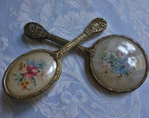 English dressing table brush and mirror set, matching pair, 1930's bevelled vintage needlepoint exquisite needlework, divine collectable.