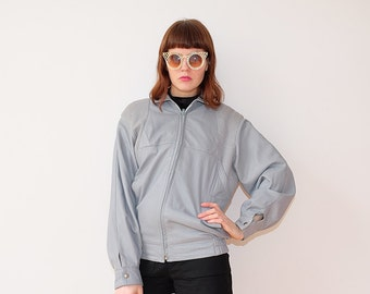 80s leatherjacket plaited grey pastel cleanchic S M