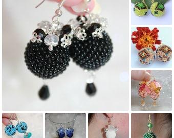 Ball earrings Seed bead earrings Bead woven earrings Round earrings white Summer Earrings Spring earrings Dangle Earrings Bridesmaid Gift
