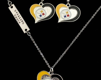Hand Stamped Steelers Chick Necklace And Earring Set