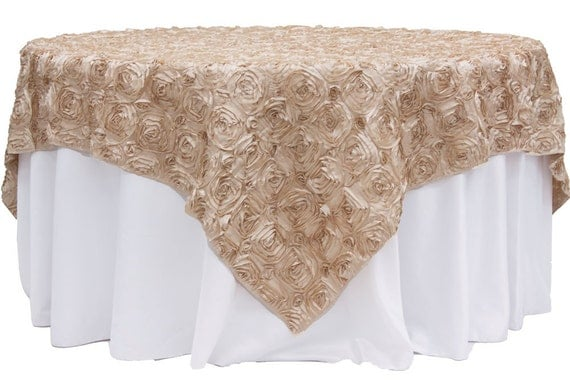 85 inch champagne rosette table overlay wedding by golinen for 85 table overlay