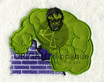 hulk superhero Applique Design for Embroidery machines in 4x4 - Instant Download