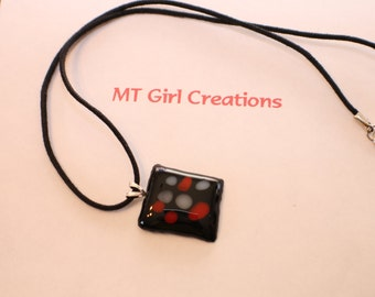 Make a Statement with this black, gray & red fused glass pendant