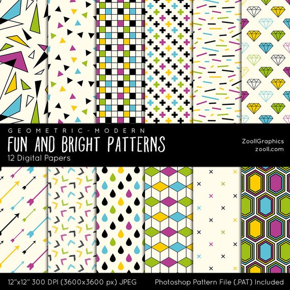 Fun And Bright Patterns Geometric Modern 12 Digital Papers