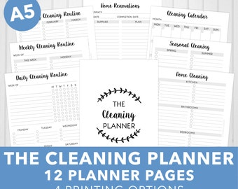 A5 Cleaning Planner Printable | 12 Planner Pages | A5 & Half-Letter | Classic Series | A5 Filofax | Large Kikki K | INSTANT DOWNLOAD