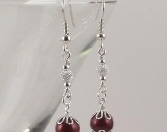 Bordeaux Swarovski crystal pearls and silver stardust earrings