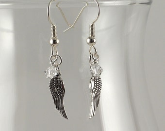 Clear Swarovski crystal and angel wing earrings