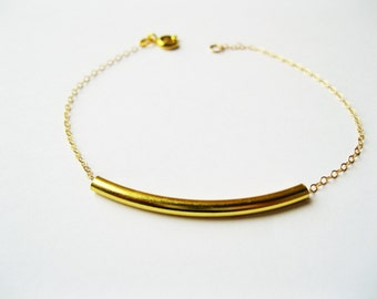 Gold tube bracelet, gold dainty bracelet, minimalist bracelet, delicate bracelet, tube bracelet, delicate bracelet, modern bracelet